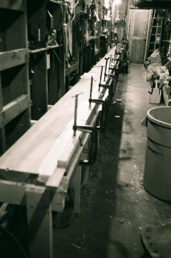 A 32 foot heavy batten was glued up for drawing the sheer line and other gradual curves