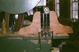 """A jig set up to resaw the 1"""" cedar boards"""