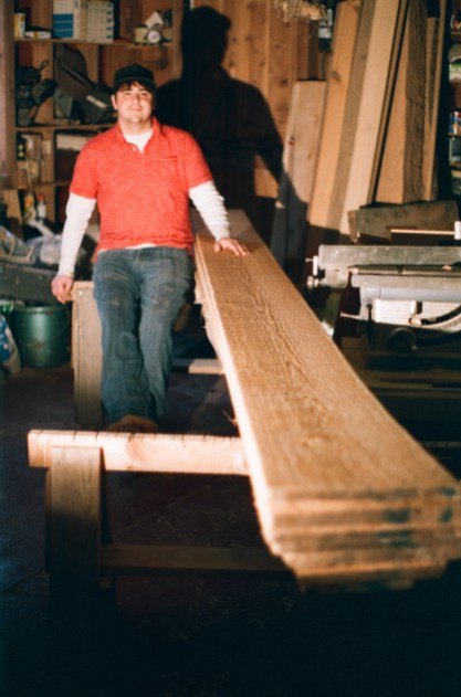 """Josh with some of the beautiful 1"""" white cedar from Castner's Sawmill"""