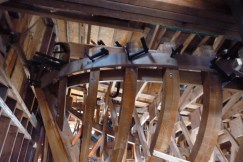 Stbd side, aft. Sheer plank is bent, cooling down. The structural member known as the clamp is visible below the sheer plank, on the inside of the frames.