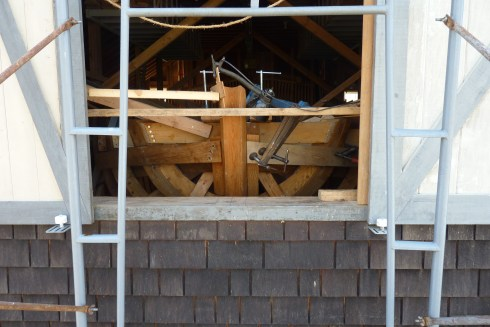 """Aft end, viewed from outside the barn. The """"Pinky"""" stern will eventually extend about 3 feet outside the sliding doors."""