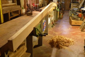 This is the 2nd (upper) cuddy deck plank, cut and planed to shape prior to steam-bending. This plank has a noticeable changing bevel on its upper edge where it fits under the deck.