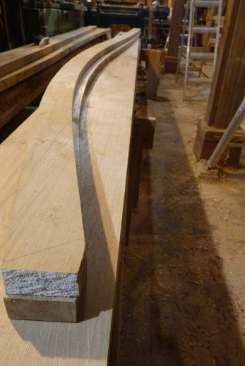 These are the two aft planks just under the sheer plank, one port, one starboard. Since we didn't have 2 boards wide enough to accommodate the bend, the lower plank was cut with less bend, and will have to be edge-sprung while steam-bending.