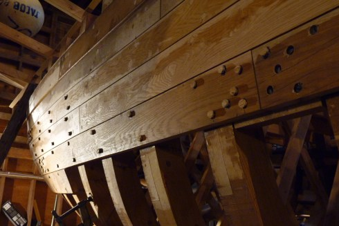 This is just prior to fastening the middle plank in the 5th strake below the sheer strake.