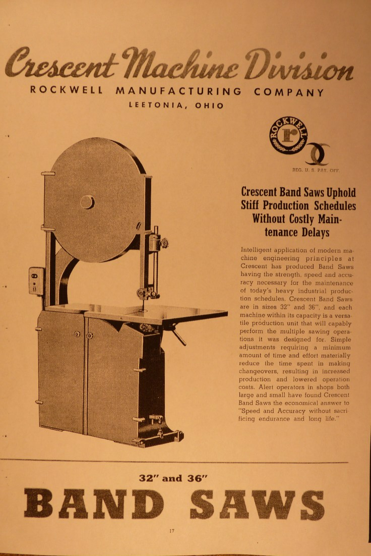 From a contemporary Rockwell catalog, late 40's. Courtesy VintageMachinery.org