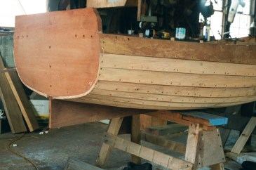 A similar dinghy under construction at Gannon and Benjamin Marine Railway on Martha's Vineyard