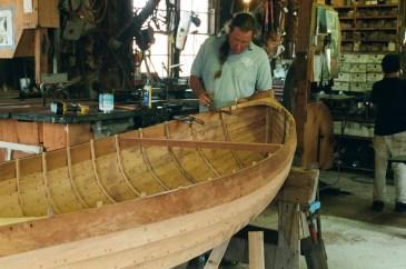 A similar dinghy under construction at Gannon and Benjamin Marine Railway on Martha's Vineyard