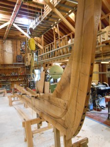 """Stem, fwd keel piece and two deadwood pieces all bolted using 1/2"""" and 3/4"""" diameter galvanized bolts"""
