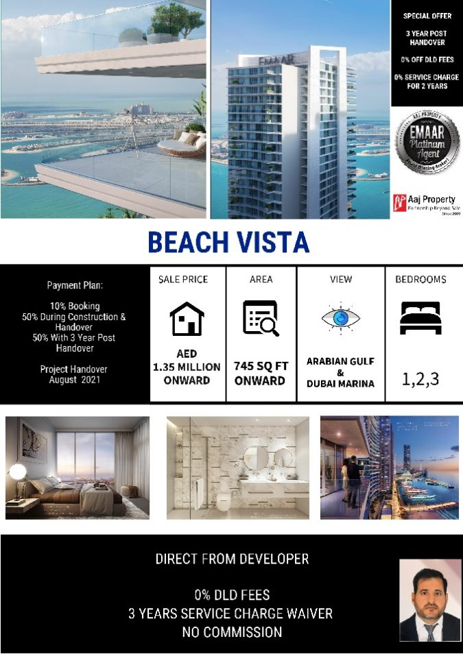 Special Offer Emaar Beach Vista. Exclusive apartments in Dubai overlooking the sea with Private Beach