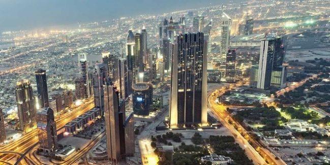 The Index Tower at DIFC Dubai International Financial Centre as Seen from Burj Khalifa