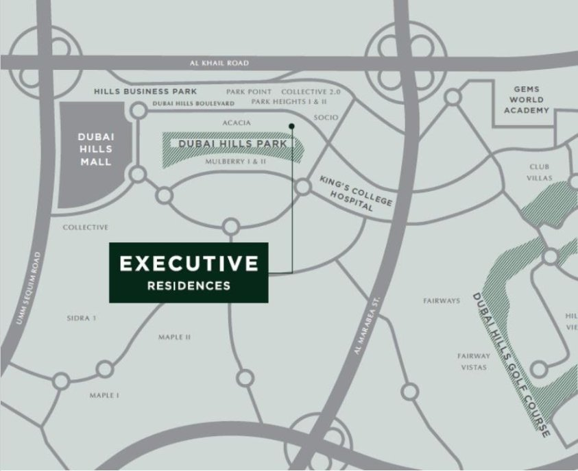 Executive Residences at Dubai Hills Estate by Emaar - Location Map