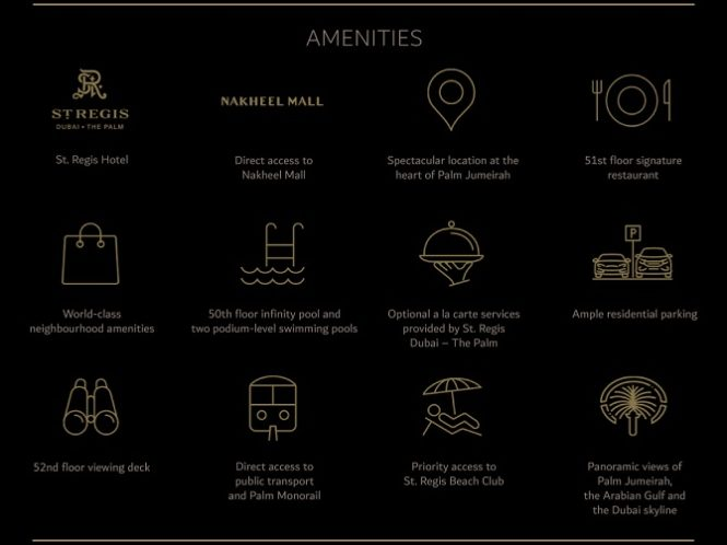 The Palm Tower Residences at Palm Jumeirah by Nakheel - Amenities