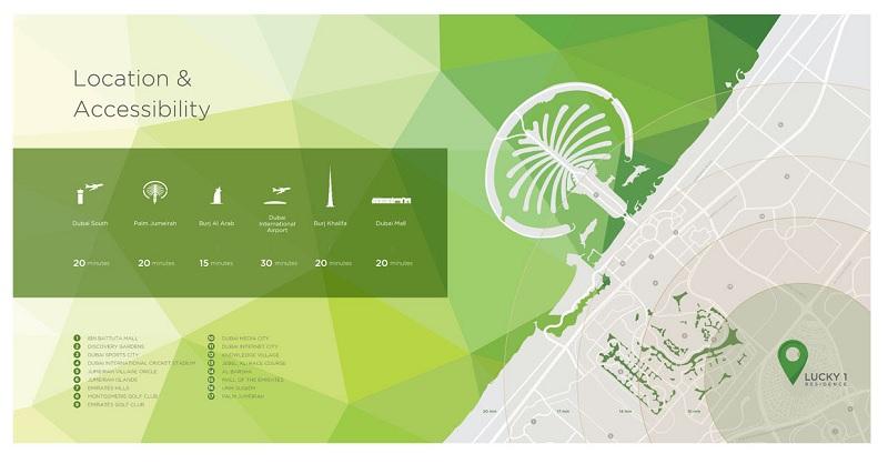 Lucky Residences - Location Map Jumeirah Village Circle