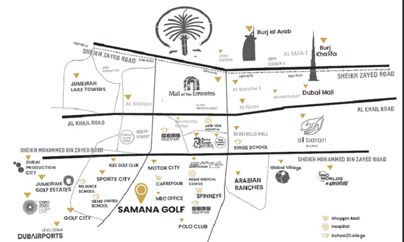 Samana Golf Avenue at Dubai Studio City DSC - Location