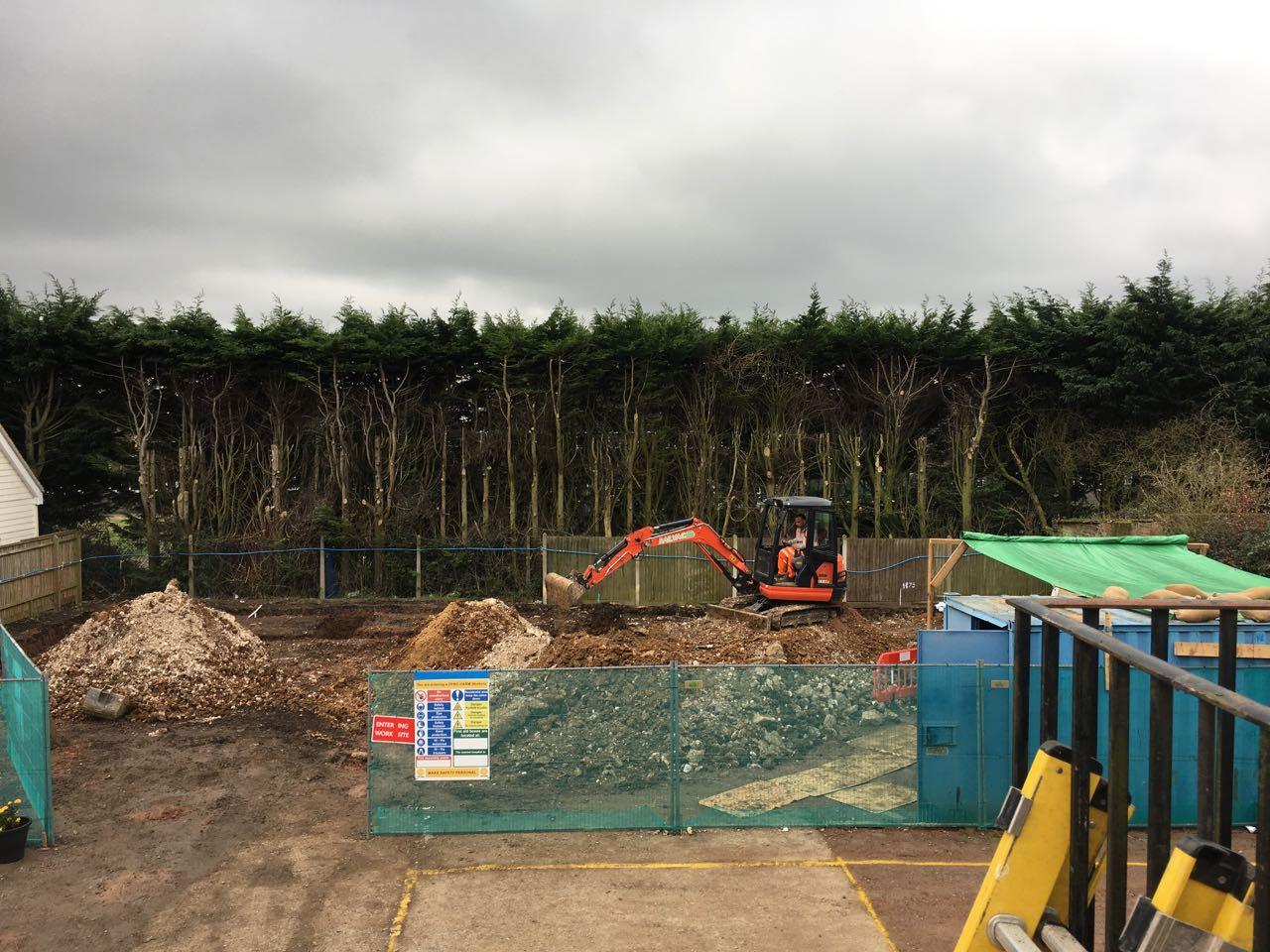 Excavator in action
