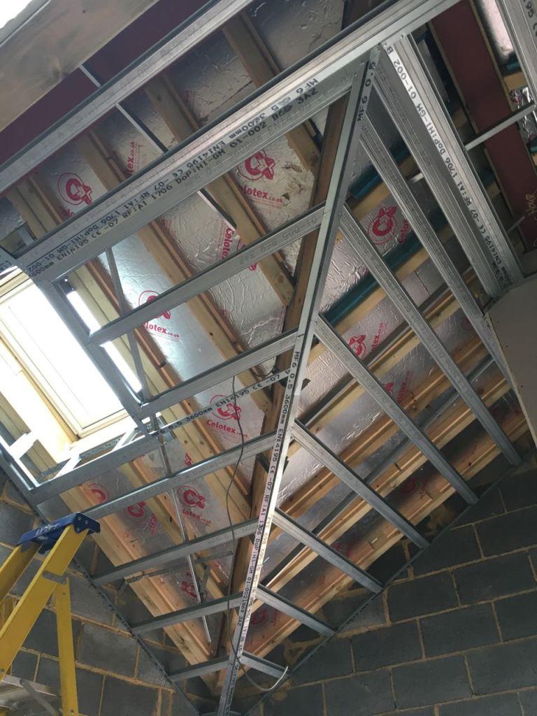 Bedroom vaulted ceiling metal frame for plasterboards