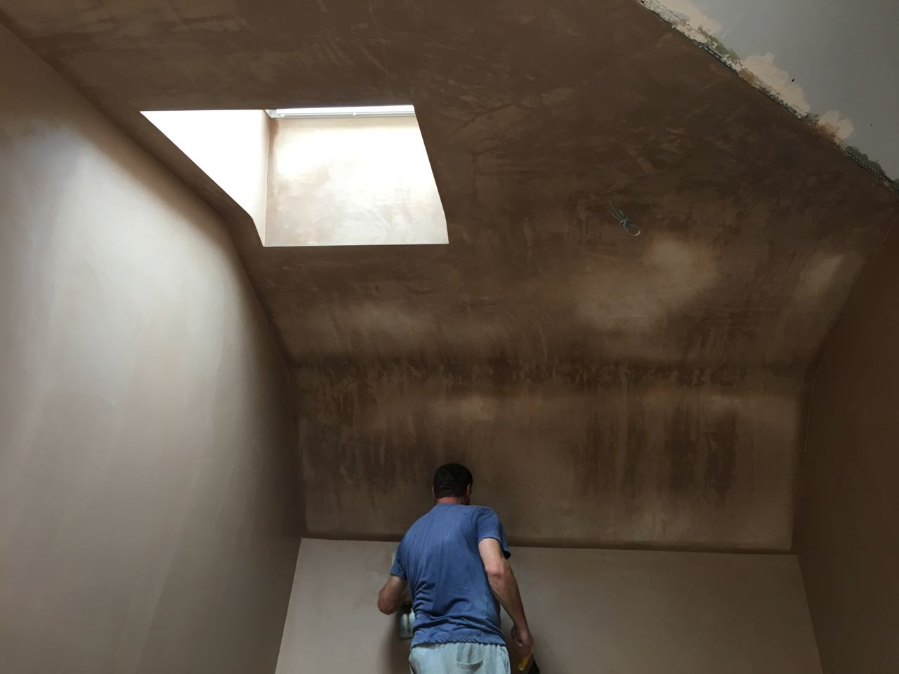 Bedroom ceiling being plaster skimmed