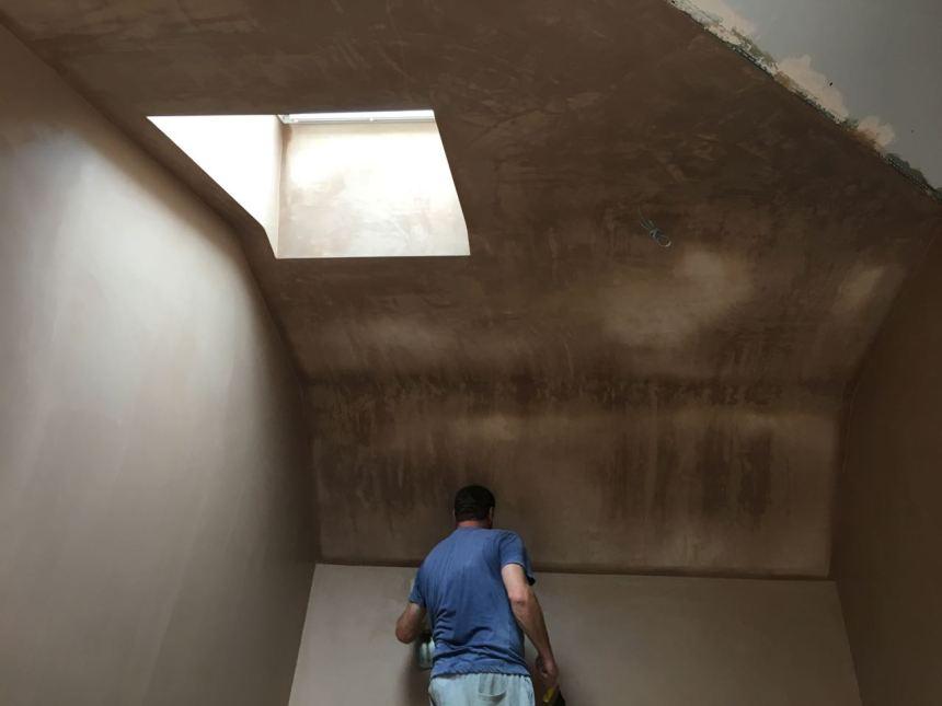 Bedroom ceiling being plaster skimmed