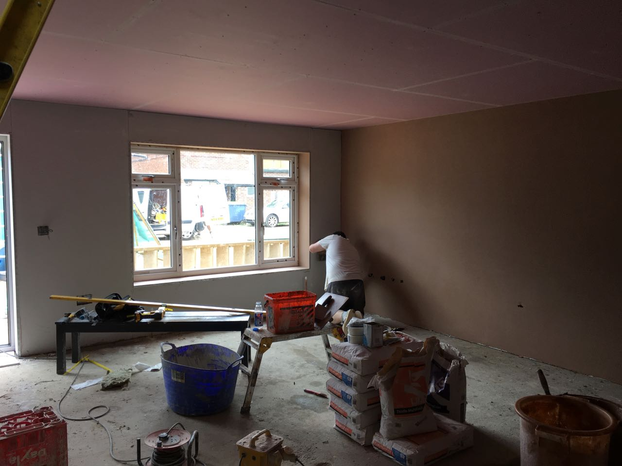 Ground floor lounge being plaster skimmed