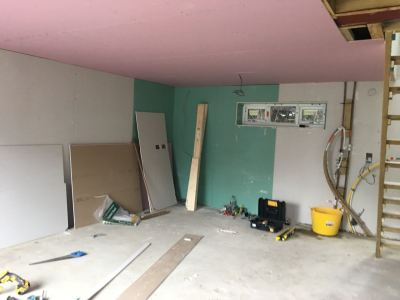 Ground floor fireproof plasterboards fitted
