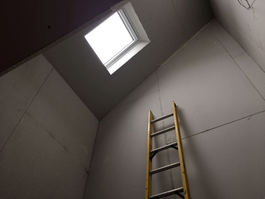 Stairwells plasterboards fitted