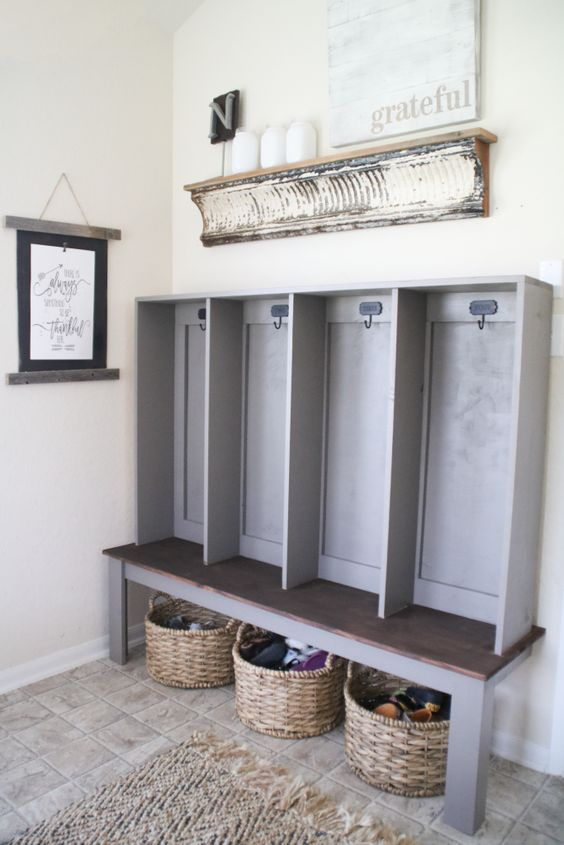The Shanty 2 Chic locker tutorial that inspired my DIY project in the mudroom.