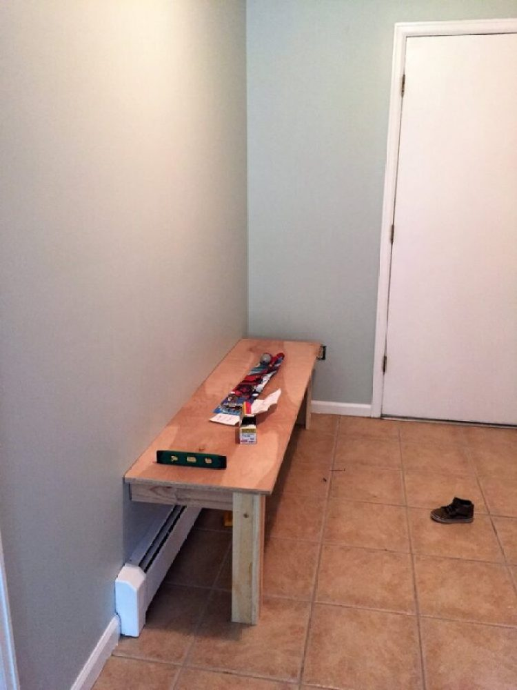 The bench installation of our DIY bench & locker system project for the mudroom.