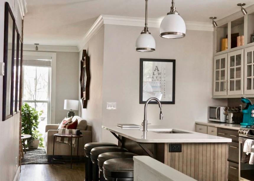 Airbnb kitchen in the historic German Village of Columbus, Ohio.