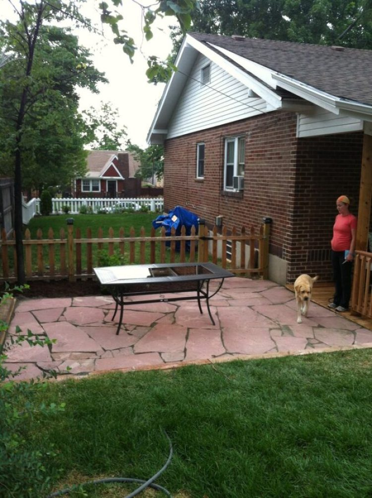 New flagstone patio after installation