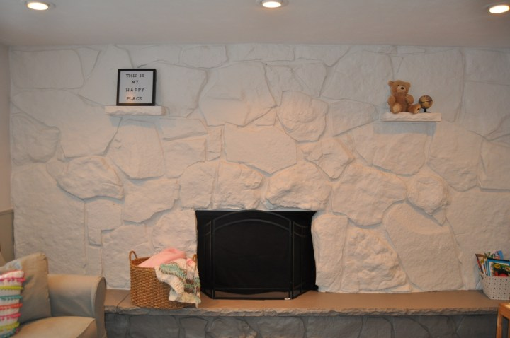 How to paint your dated stone fireplace in 24 hours   Building Bluebird #fireplacetransformation #accentwall #paint #fireplace #diy