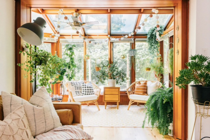 Wendys sunroom let's the light in and the plants create a sense of freedom   Building Bluebird