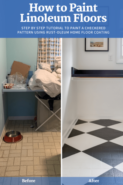 Update your floors using Rust-Oleum interior paint with this DIY tutorial | Building Bluebird #diy #homerenovation #homedesign