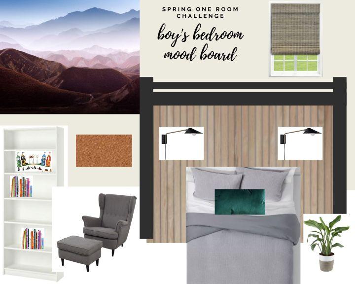 Modern boy's bedroom mood board   Spring One Room Challenge - Week 1