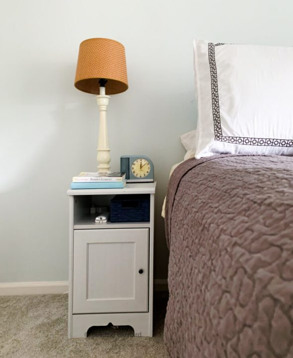 IKEA Hemnes nightstands before the ORC makeover | Building Bluebird #bhgorc #moodybedroom