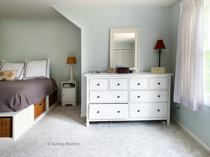 Bedroom before our moody makeover | Building Bluebird #ikeahack #homedesign #bhgorc