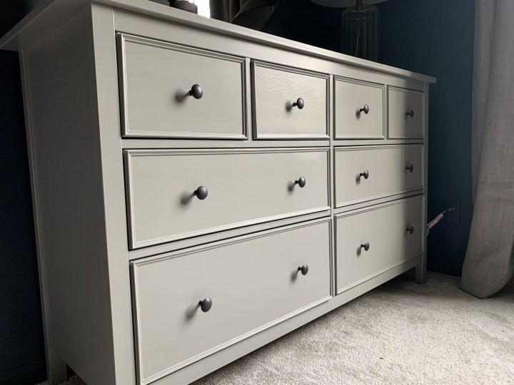 Ikea Hemnes dresser hack is complete with new trim and fresh paint color | Building Bluebird #ikeahack #hemnes #diy #moodybedroom