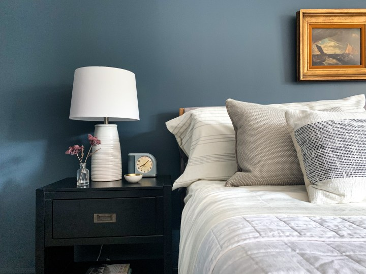 Modern black nightstand with storage in our moody master bedroom makeover | Building Bluebird #target #sw6251 #outerspace