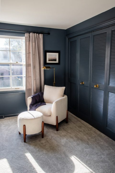 Outerspace by Sherwin Williams gives this bedroom a cozy feel | Building Bluebird #swcolorlove #sw6251 #moodybedroom #darkpaint