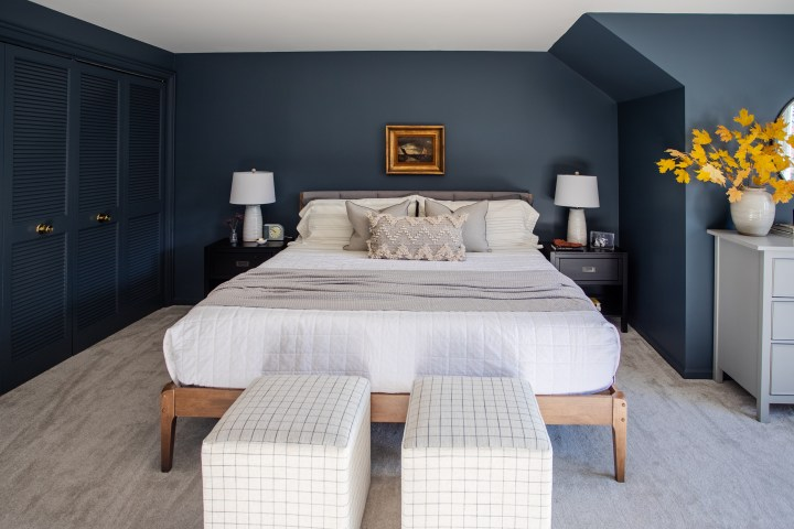 Modern master bedroom makeover with moody paint color and neutral bedding | Building Bluebird #outerspace #swcolorlove #moodypaint #sw6251 #overstock #targetstyle #studiomcgee #gofinding