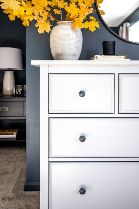 How to add trim to an IKEA Hemnes dresser | Building Bluebird #ikeahack #diy #moodybedroom #outerspace
