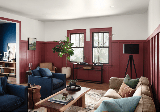 2021 Paint Color Trends - Passionate by HGTV Home | Building Bluebird #designtrends #paintcolors #homerenovation #diy #sherwinwilliams #swcolorlove #coty #2021coty #coloroftheyear
