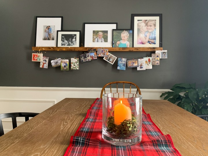 Use Christmas card garland to decorate for the holidays   Building Bluebird