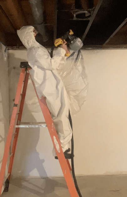 Step-by-Step process for painting an exposed basement ceiling and what I would do differently | Building Bluebird #paintsprayer #basementmakeover #valspar #wagnerspraytech #flexio5000