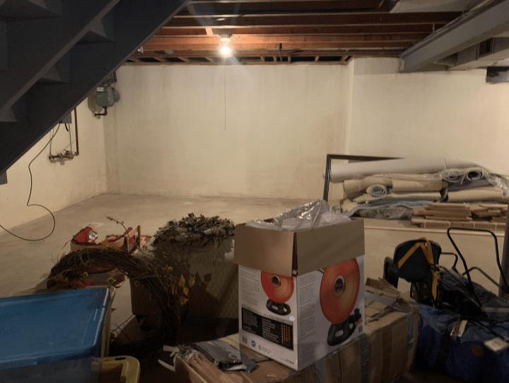 Update your basement concrete floors with this budget-friendly DIY | Building Bluebird  #rustoleum #epoxyshield #basementmakeover #painted floors