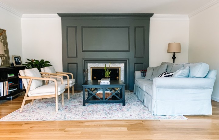 Mixing old and new furniture for our living room makeover | Building Bluebird #oneroomchallenge #bhgorc #mcm