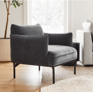 Slate accent chair for our living room makeover | Building Bluebird #oneroomchallenge #bhgorc