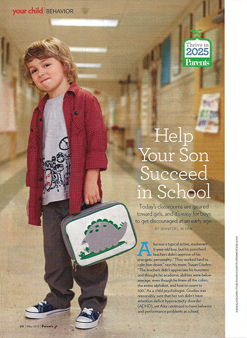 "A scan of the ""Helping Your Son Succeed in School"" article in Parents magazine."