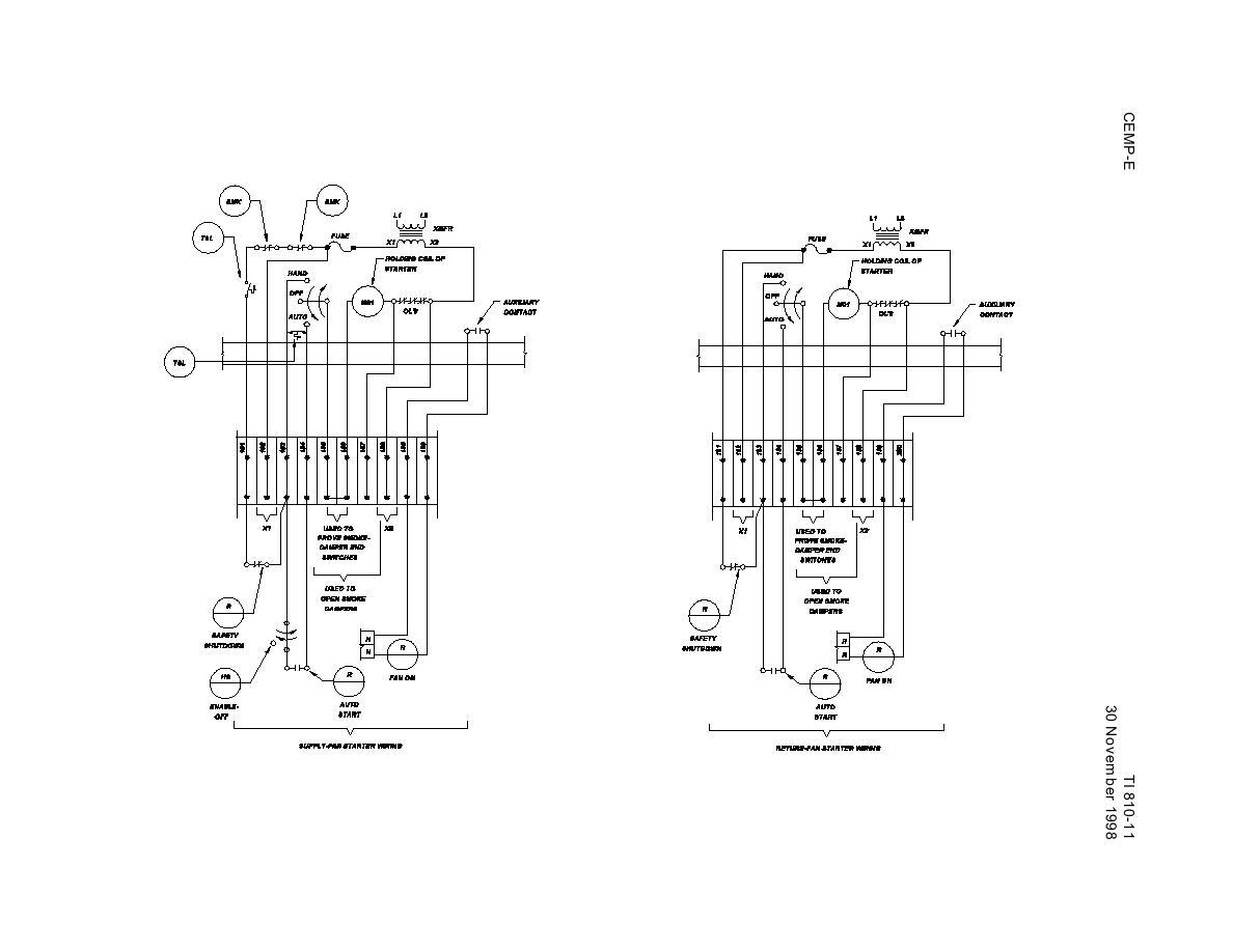 Figure 4-6g. Supply Fan And Return Fan Starter Wiring