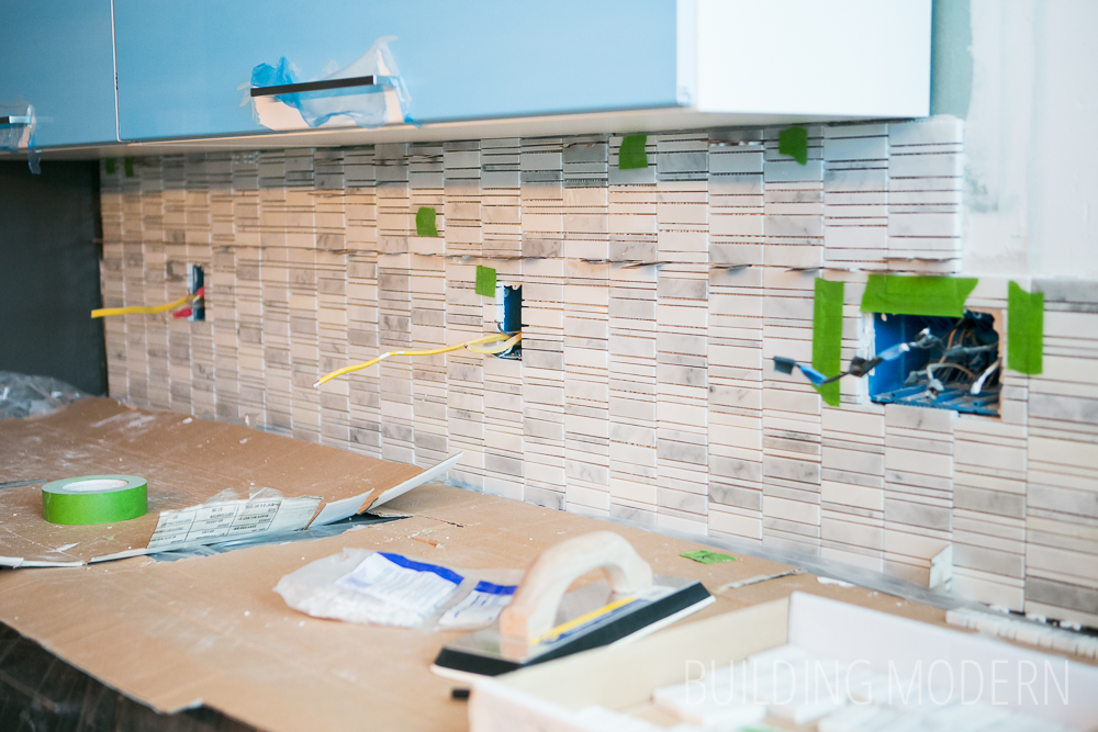 http buildingmodern net how to install a carrara marble mosaic tile backsplash part 2