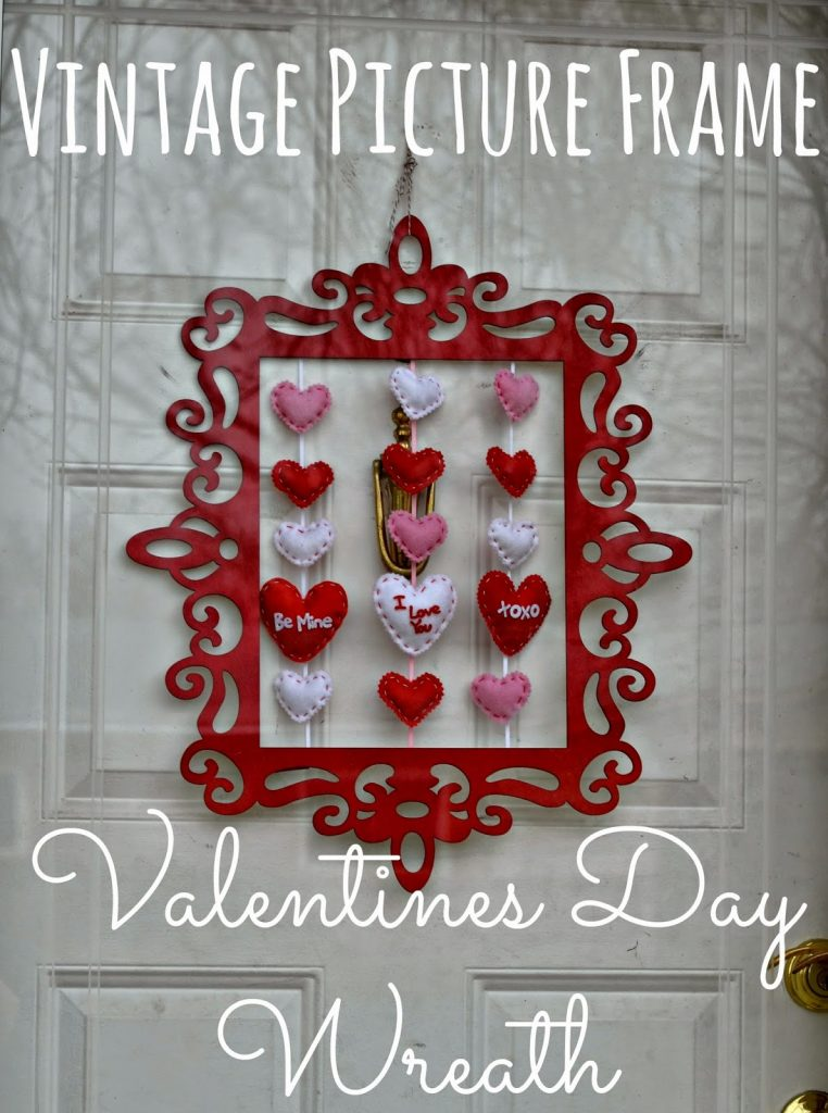 Vintage Picture Frame Valentines Day Wreath DIY